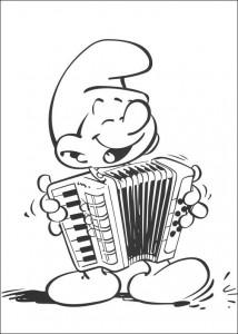 målarbok Musik Smurf