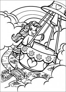 coloring page My Little Pony in a hot air balloon