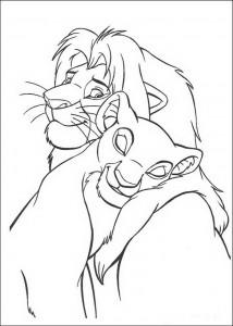 målarbok Nala och Simba är kär