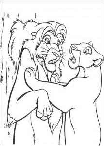 pagina da colorare Nala parla con Simba