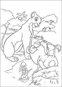 pagina da colorare Nala parla con Timon e Pumba