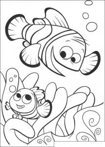 kleurplaat Nemo en Marlin terug in het koraal
