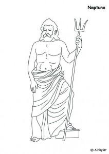 Dibujo para colorear Neptuno, dios del mar