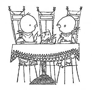 pagina da colorare Ordinato al tavolo