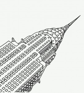 coloring page new york chrysler building