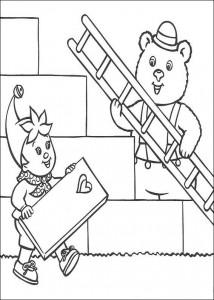 Disegno da colorare Noddy costruisce con il signor Bolle de Beer