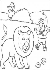 coloring page Noddy and the lion