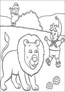 kleurplaat Noddy en de leeuw