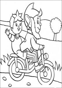 kleurplaat Noddy en Groot-Oor op de fiets