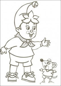 Noddy and mouse coloring page