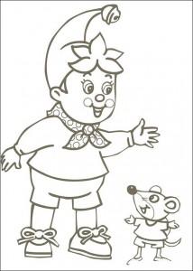 kleurplaat Noddy en muis