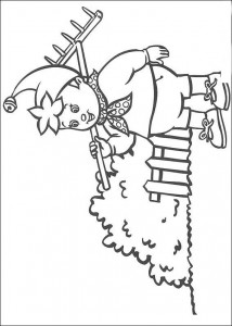 coloring page Noddy goes gardening