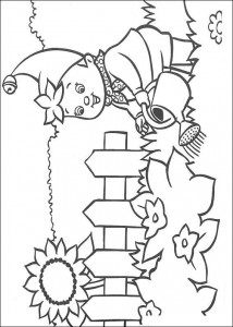 Coloring page Noddy is watering plants