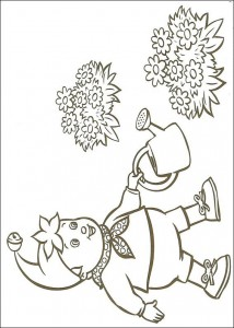 coloring page Noddy with watering can
