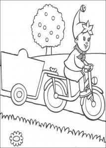 kleurplaat Noddy op de fiets