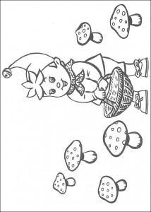 coloring page Noddy is looking for mushrooms
