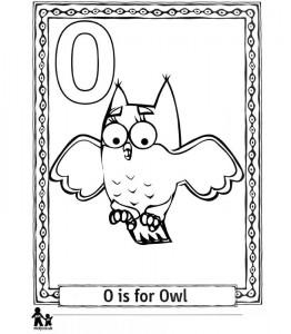 kleurplaat O Owl = Uil
