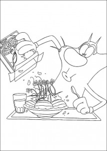 Coloring page Oggy and the cockroaches (4)