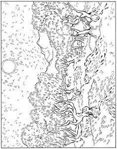 kleurplaat Olijf bomen 1889