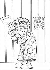 coloring page Grandma sees a mouse