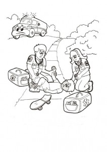 coloring page Accident, the ambulance is here!