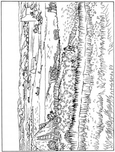 coloring page Harvest in La Crau 1888
