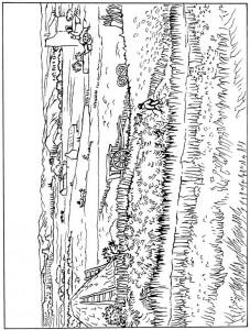 kleurplaat Oogst in La Crau 1888