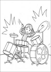 kleurplaat Op de drums spelen