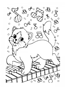 coloring page On the piano