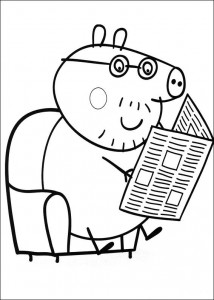 coloring page Grandpa reads the newspaper