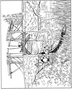 coloring page Drawbridge at Arles 1888