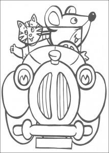 kleurplaat Opwind muis in de auto