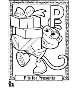 kleurplaat P Presents = Cadeautjes