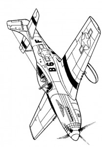 coloring page P51D Mustang 1941