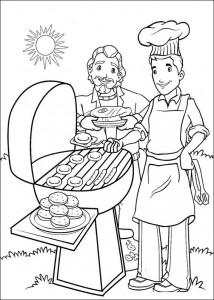 pagina da colorare Porridge dietro il barbecue
