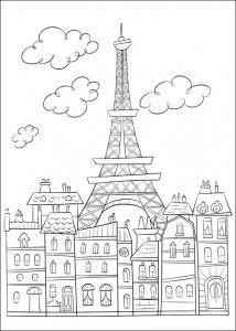 coloring page Paris and the Eiffel tower