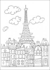 kleurplaat Parijs en de Eiffeltoren