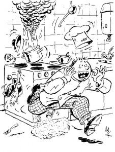 målarbok Se upp med varm olja på spisen