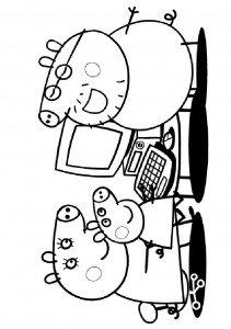 coloring page Peppa behind the computer