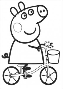 coloring page Peppa on the bike (1)