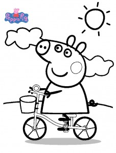 coloring page Peppa on the bike