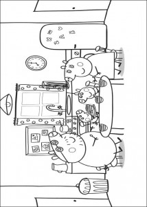 coloring page Peppa Pig and family
