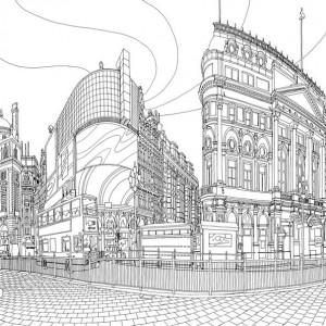 målarbok Piccadilly cirkus
