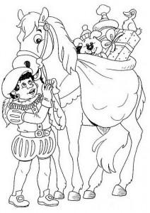 kleurplaat Piet en paard