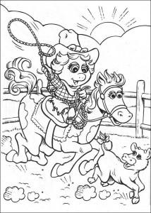 målarbok Piggy som en cowboy