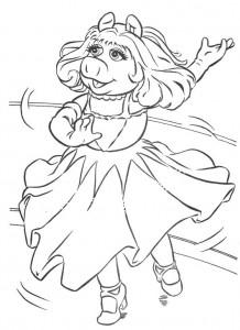 kleurplaat Piggy als Ginger Rogers