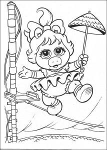 målarbok Piggy som strängdansare