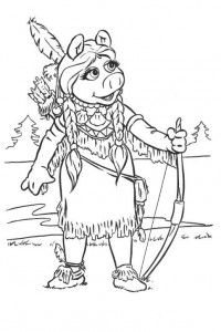 coloring page Piggy as Pocahontas