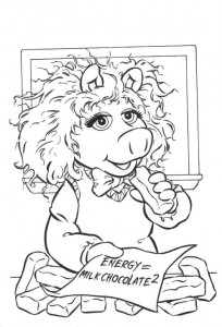 coloring page Piggy as ZwEinstein