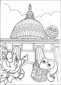 coloring page Piggy and kermit traveling